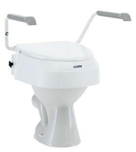Rialzo per WC con braccioli pieghevoli e regolabile in 3 altezze con coperchio