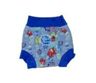 Splash About neoprene Happy Nappy (swim nappy), Fish Print with Royal Blue rib, Large (about 6 to 14 months)