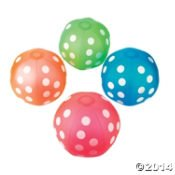 POLKA DOT INFLATABLE BEACH BALLS ~ One Dozen (12) ~ Green Orange Blue Red ~