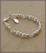 White Pearl w/Crystal Sterling Silver Infant Baby Christening Bracelet 0-12 months