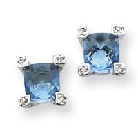 Sterling Silver Square Blue & Clear CZ Post Earrings