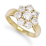 Jewelco London 9ct Solid gold cubic zirconia set Cluster Ring,Size Q