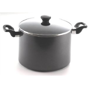 Mirro 47008 Get A Grip Nonstick Oven Safe Dishwasher Safe 8-Quart Stockpot with Glass Lid Cover Cookware, Black