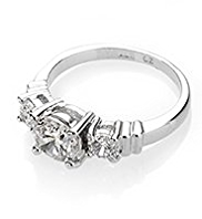 M&S Collection Platinum Plated Trio Classic Diamanté Ring