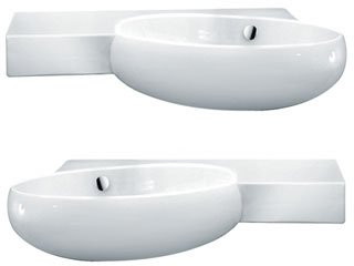 "Vessels 31.5"" Tao Wall-Mount Sink with Right Side Integrated Sink"