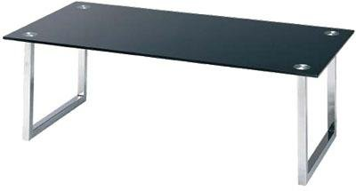 Coffee Table Chrome/Tempered Black Glass Top48In.Lx24In.Wx16In.