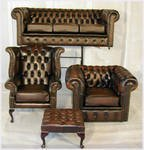 Chesterfield four piece suite top quality in antique brown leather