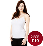 Plus Scoop Neck Plain Ruched Camisole with StayNEW™