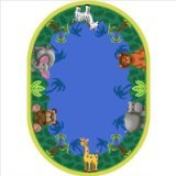 "Joy Carpets Kid Essentials Infants & Toddlers Oval Jungle Friends Rug, Multicolored, 5'4"" x 7'8"""