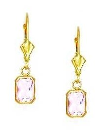 14ct Yellow Gold 7x5 mm Emerald-Cut Rose-Pink CZ Drop Earrings