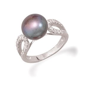 Sterling Silver Rhodium Plated Grey Cultured Freshwater Pearl and CZ Ring / Size 6