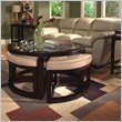 Magnussen Juniper Round Glass Top Cocktail Table and End Table Set in Brown