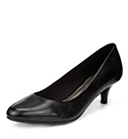 M&S Collection Leather Pointed Toe Mid Heel Court Shoes with Insolia®