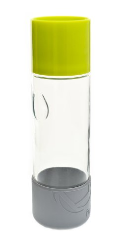 Full Circle Day Tripper 20-Ounce Glass Water Bottle, Lime Green