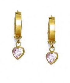 14ct Yellow Gold 5 mm Heart Rose-Pink CZ Drop Hinged Earrings