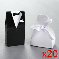 40 Wedding Gift Favor Boxes - Bridal Gown Dress and Groom's Tuxedo
