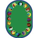 Joy Carpets Kid Essentials Early Childhood Round Joyful Faces Rug, Green, 7'7""