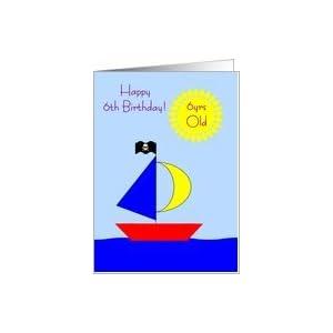 Amazon.com: 6 Year Old Birthday Card - Boat Card: Toys