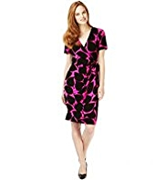 M&S Collection Fit & Flare Leaf Print Wrap Dress