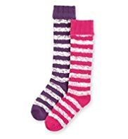 2 Pairs of Striped Welly Socks