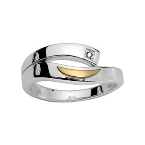 Helios Jewelry - Women Wedding Band Ring Sterling Silver Rhodium Plated Diamond & 18 K Gold +/Size 52/New/francebijoux