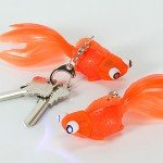 Orange Goldfish LED Flashlight Keychain w/ Bubbling