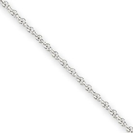 14k White Gold 1.1mm Baby Rope Chain Necklace – 20 Inch – Spring Ring – JewelryWeb