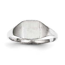 Genuine IceCarats Designer Jewelry Gift 14K White Gold Signet Ring Size 6.00