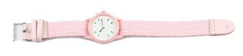 Geneva Ladies Wrist Watch With Small Round Face & Threaded Adjustable Band Pink