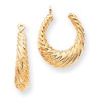 14k Polished Twisted Hollow Hoop Earrings Jackets - JewelryWeb