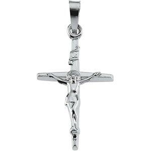 14K White Gold Crucifix Pendant