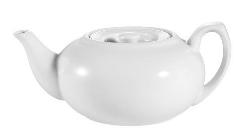 CAC China TPW-2 30-Ounce Porcelain Teapot with Flat Lid, 8 by 3-1/2 by 5-Inch, Super White, Box of 12 (Catering Teapots compare prices)