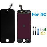 LCD Disply Touch Screen Digitizer Glass Replacement Full Assembly for IPhone 5C Black (Iphone 5c Replacement Digitizer compare prices)