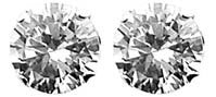 Bling Mens 925 Sterling Silver 8mm Diamond Round Cut Cubic Zirconia (CZ) Stud Earrings - White / Clear - Beckham Style