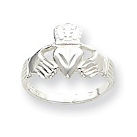 Sterling Silver Claddagh Ring - Size 6 - JewelryWeb