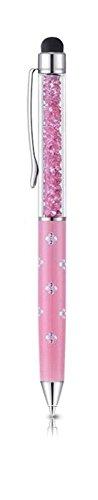 Qualità 2 in 1, con pennino per Touchscreen capacitivo e penna a sfera con cristalli Swarovski Crystals. con 2 cartucce incluse, colore: argento rosa