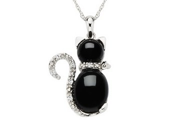 Black Onyx & Diamond 10K White Gold Cat Pendant w/ Chain