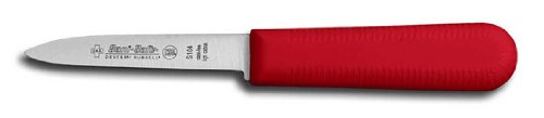 """Dexter-Russell Paring Knife, Cook's Style Parer, 3-1/2"""" Blade. Red"""