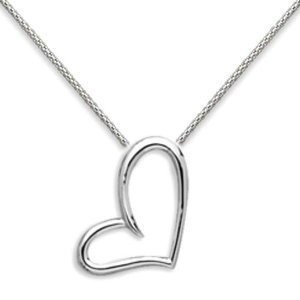 Floating Heart Open Slide Pendant Rhodium Plated Over Sterling Silver, 30-inch Chain Included pro jewelry floating mini charms for floating locket