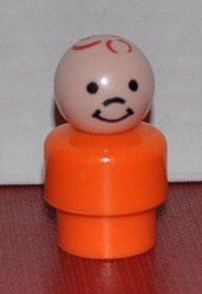 Vintage Little People Boy Son (Plastic Head & Short Orange Plastic Base) - Replacement Figure - Classic Fisher Price Collectible Figures - Zoo Circus Ark Pet Castle front-111755