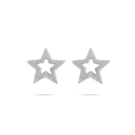Sterling Silver Stencil Star Stud Earrings