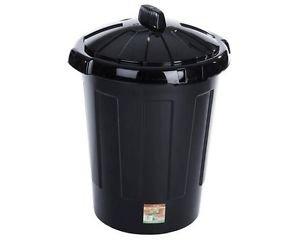 En plastique Noir 80 l-Grande poubelle à couvercle à clipser