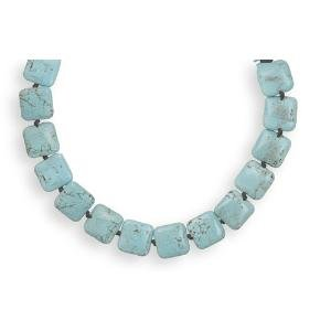 Turquoise Square Bead Individually Knotted Necklace