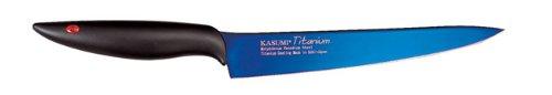 Kasumi Titanium bleu couteau Eminceur 20cm - KTB3- Couteau pour rôtis ou grands morceaux de viande crue