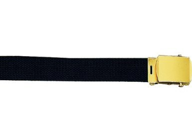 "Army Camouflage Solid Color Military Web Belt (Black Belt - Gold Buckle, 64"")"