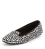 M&S Collection Animal Print Slip-On Ballerina Slippers