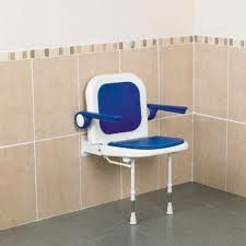 Shower Seat Wall Mounted With Arms & Padded Back & Seat by Patterson Medical