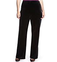 Plus Wide Leg Velour Pull On Trousers