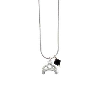 Silver Tiara Jet Swarovski Bicone Charm Necklace [Jewelry]