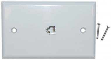 Cable Wholesale Telephone Wall Plate,Rj11, 4C White Smooth